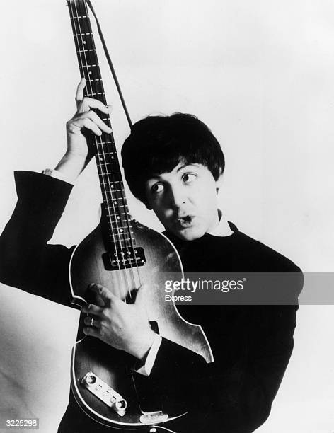 Paul McCartney of The Beatles with his Hohner bass