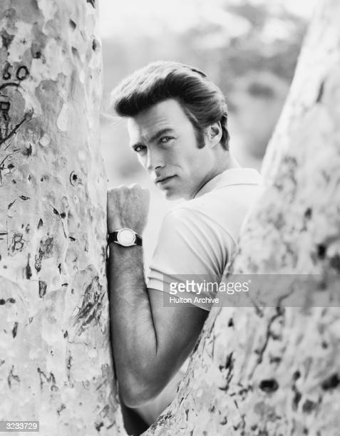 Portrait of American actor Clint Eastwood looking over his shoulder through the crook of a tree