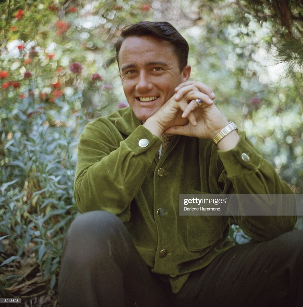 Portrait of American actor Robert Vaughn seated among flower bushes while smiling with his hands crossed.