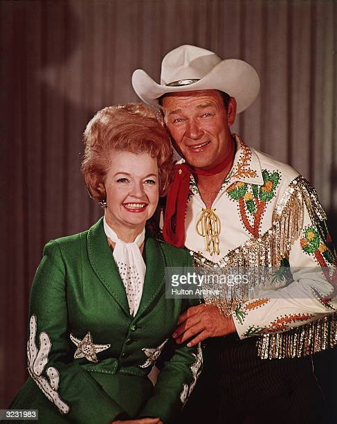 36419393e30 Portrait of married American actors and singers Dale Evans and Roy Rogers  smiling in sequined and. Roy Rogers in a Cowboy Hat