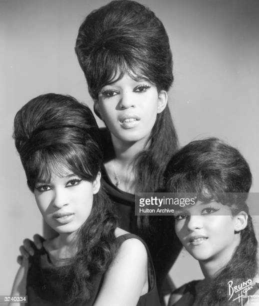 Portrait of the American singing group The Ronettes, comprised of Estelle Bennett, Veronica Bennett, and Nedra Talley.