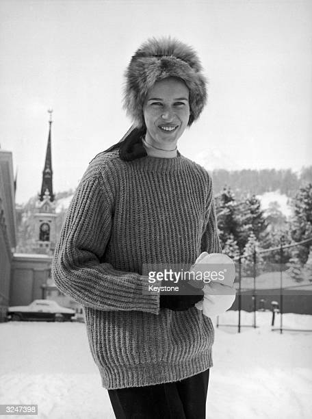 Princess Maria Gabriella of Savoy, daughter of exiled King Umberto II, on holiday in St Moritz.