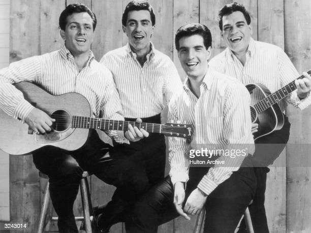 Promotional portrait of the American pop group The Four Seasons. From left: Tommy DeVito , Frankie Vali, Bob Gaudio, and Nick Massi. The band members...