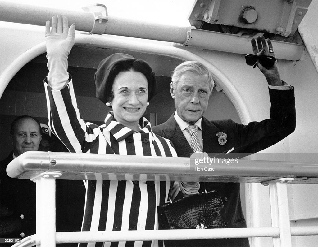The Duchess of Windsor, (1896 - 1986), born Wallis Warfield in Pennsylvania, and the Duke of Windsor, (1894 - 1972), who reigned as King Edward VIII in 1936, arriving at Southampton on board the liner United States. They married in 1937.