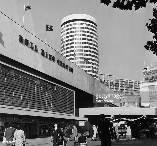 The old Bull Ring Centre in Birmingham built in 1964 and demolished in 2001 The Rotunda stands in the background