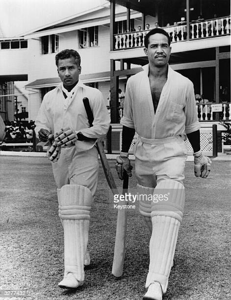 West Indian cricketer, Gary Sobers, leaving the pavilion.