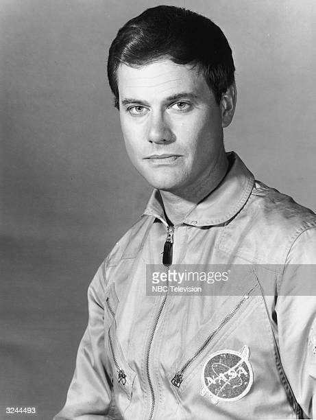 Promotional studio portrait of American actor Larry Hagman wearing his uniform as NASA astronaut Major Tony Nelson from the television series 'I...