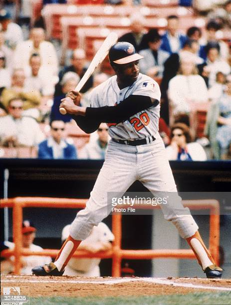 Baltimore Orioles outfielder and slugger Frank Robinson prepares to bat during a game