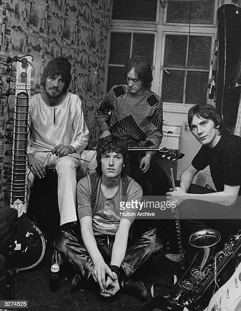 British psychedelic progressive rock group Traffic from left to right Jim Capaldi sitting on the floor Stevie Winwood Dave Mason and Chris Wood