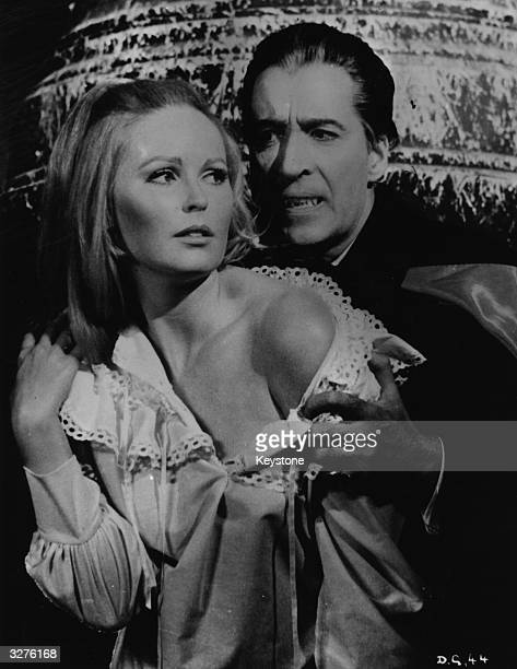 Christopher Lee and Veronica Carlson in 'Dracula Has Risen From The Grave' a Hammer film directed by Freddie Francis