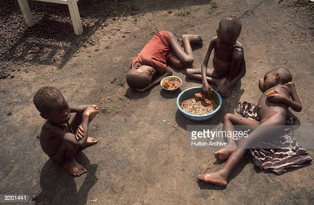 Four starving Biafran children sit and lay around a bowl of food in the dirt during the NigerianBiafran civil war Members of the Ibo tribe rebelled...