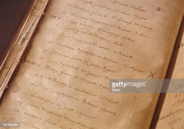 The entry in a register for the baptism of Susanna Shakespeare, the daughter of English playwright William Shakespeare which took place on May 26th...