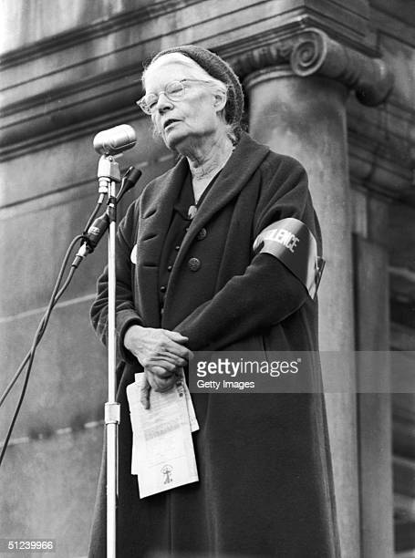 Circa 1969 American social activist Dorothy Day founder of the Catholic Worker movement addresses a demonstration in Union Square New York where five...