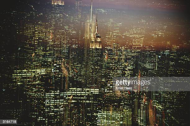 A blurred vision of the lights of New York City at nighttime
