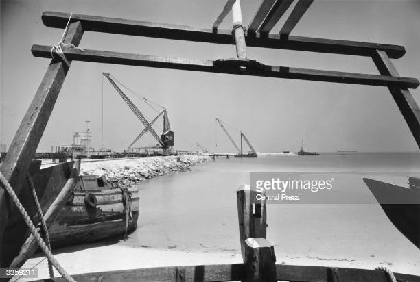 A view of the new deepwater harbour being constructed in Dubai or Dubayy by Costain civil engineering for completion in 1973