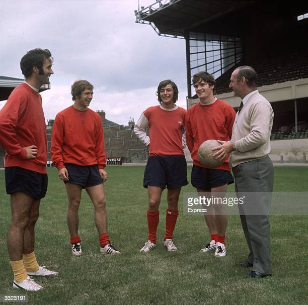 Arsenal Football Club manager Bertie Mee right with players George Graham Eddie Kelly Peter Marinello and Pat Rice