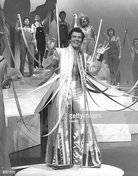 English singer and actor Jess Conrad rehearsing for his role in Andrew Lloyd Webber and Tim Rice's musical 'Joseph and the Amazing Technicolour...