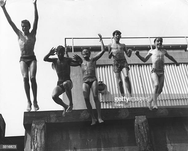 It doesn't look much but these boys are actually plunging 75ft from the top of a five-story apartment block into the Hudson river.