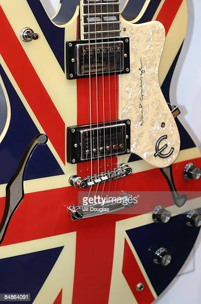 UNSPECIFIED circa 1970 Photo of OASIS and EPIPHONE GUITARS and GUITAR and Noel GALLAGHER Noel Gallagher signature model with Union Jack paintwork