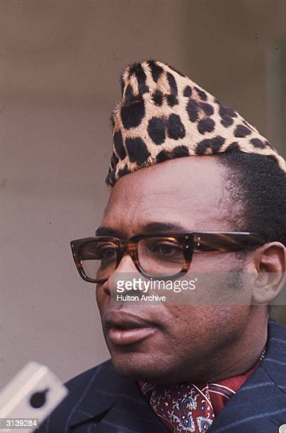 President Mobutu Sese Seko of the Democratic Republic of the Congo formerly Zaire wearing a leopard skin cap