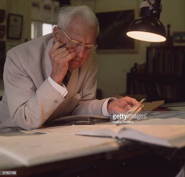 The inventor of the 'bouncing bomb' English scientist Barnes Wallis in his office