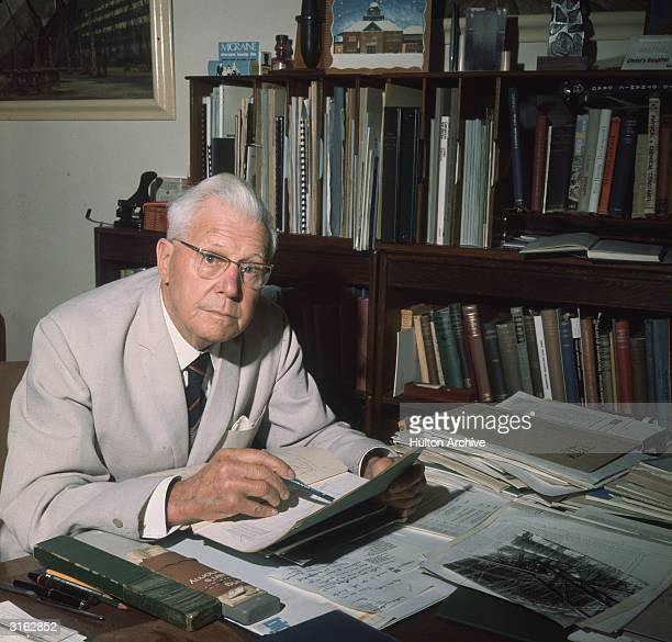 The inventor of the 'bouncing bomb', English scientist Barnes Wallis , in his office.
