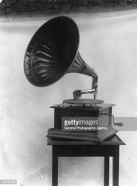 The Rosco gramophone with crank handle and horn