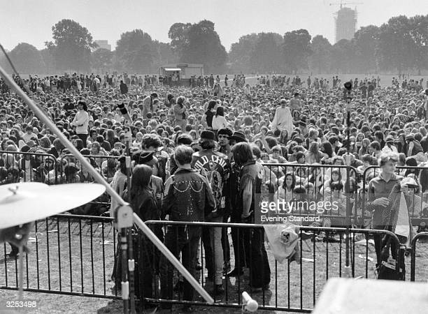 The security barrier in front of the stage at the Hyde Park Pop Festival