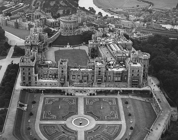 Windsor Castle and its formal gardens in Berkshire....