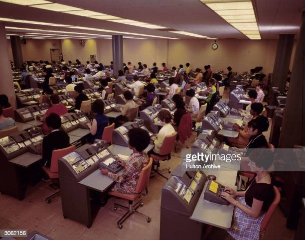 Women at work in the bookkeeping room at the Bank of America Los Angeles
