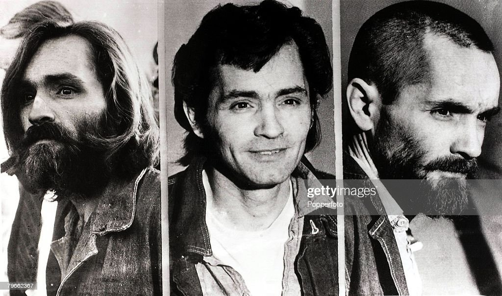 USA, Circa 1971, American cult leader and mass murderer Charles Manson is shown in these three pictures demonstrating how he has changed his appearance during his trial for the Tate-La Bianca murders in Los Angeles in 1969 : News Photo