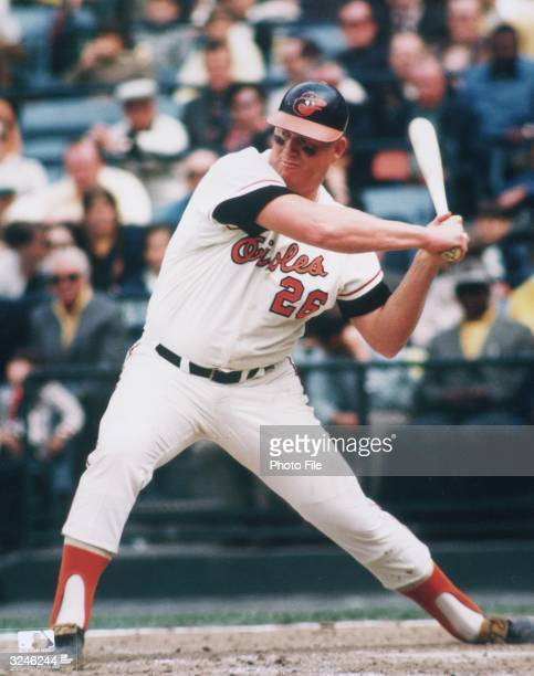 Baltimore Orioles first baseman John Wesley 'Boog' Powell prepares to swing at a pitch during a game early 1970s