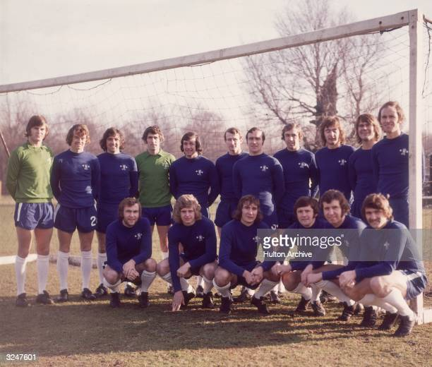 The 19723 Chelsea FC squad including goalkeeper Peter Bonetti and captain Ron Harris