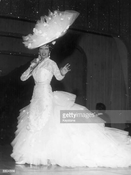 American singer and cabaret artiste Josephine Baker famous for her 'banana dance' performing at the Red Cross Gala at Monte Carlo