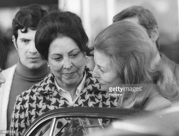 Isabel Martinez Peron wife of the former Argentinian president and dictator Juan Peron at Fiumicino airport Rome