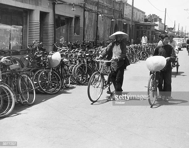 A bicycle parking area near Peking's main Department Store