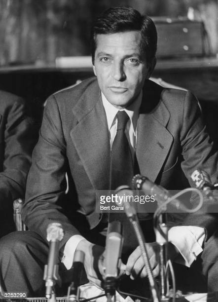 Adolfo Suarez Prime Minister of Spain talks to the press at the Spanish Embassy in Paris He met President Giscard d'Estaing as part of his tour of...