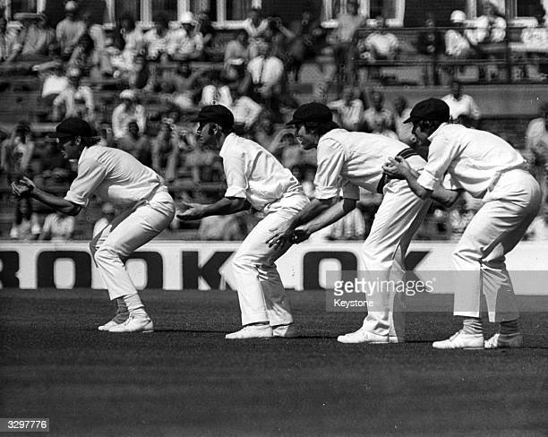 Australian cricketers line up at Edgbaston Rick McCosker Doug Walters Greg Chappell and Ian Chappell