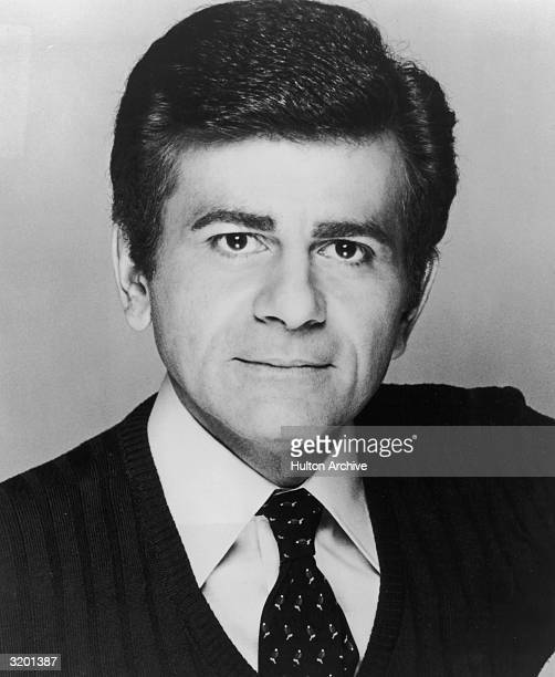 Headshot portrait of American radio and television host Casey Kasem, promoting his television program, 'Rocket to the Stars.'