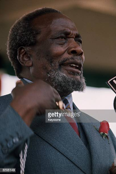 Jomo Kenyatta the first President of Kenya addressing a public rally