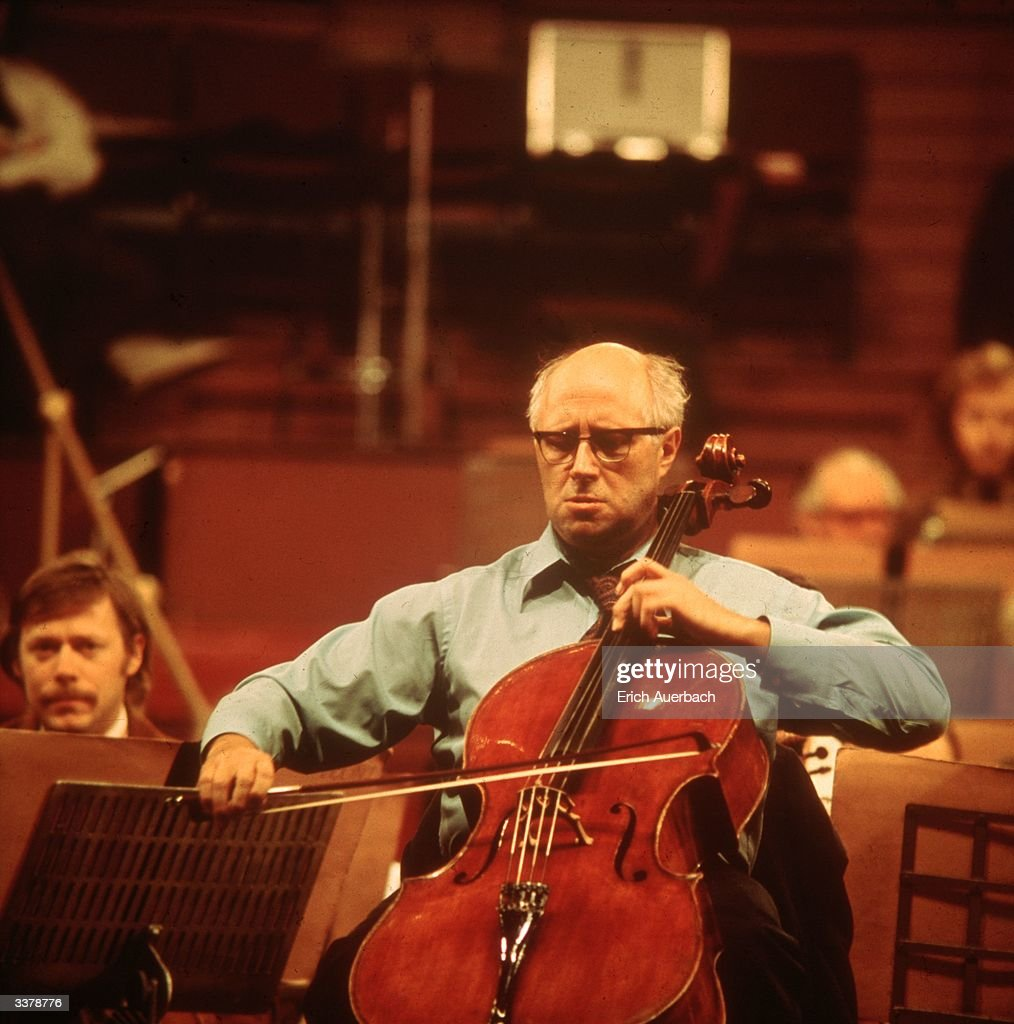 Russian cellist and conductor Mstislav Rostropovich playing the cello.