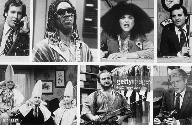 Circa 1975, Stills from sketches from the 1975-84 seasons of the television show 'Saturday Night Live.' Top, left to right: Chevy Chase, Eddie...