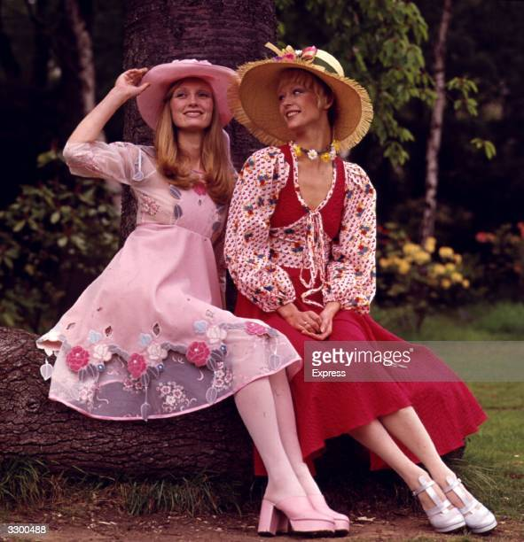 Summer dresses and sun hats worn with platform shoes.