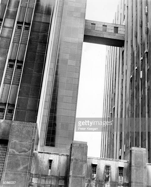 The Bridge of Sighs in Foley Square downtown New York links the Criminal Court building right with the Tombs Prison where prisoners are held before...