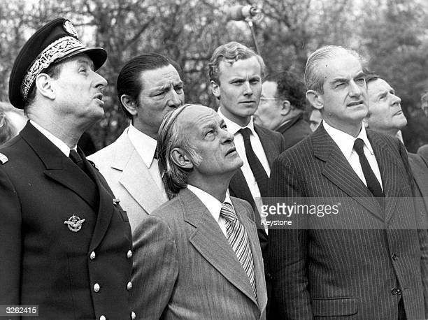 The Prime Minister of Quebec Rene Levesque with the Minister of Justice Alain Peyrefitte and Philippe De Gaulle at the General De Gaulle Memorial...