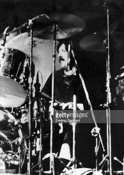 Led Zeppelin drummer John Bonham during a tour of West Germany.