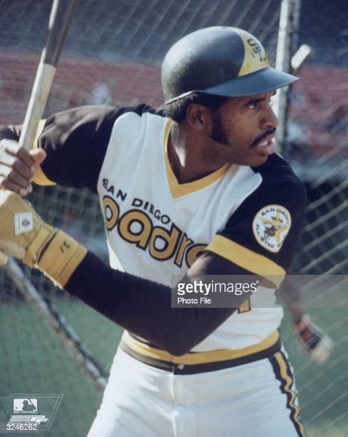 San Diego Padres outfielder Dave Winfield stands in profile wearing his uniform and helmet while at bat during a baseball game