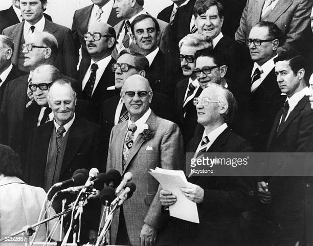South African Prime Minister Pieter W Botha at a National Party of South Africa rally shortly after having taken office