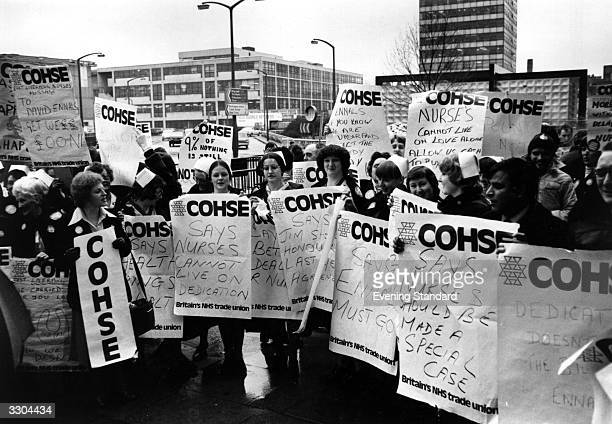 A demonstration by health workers from COHSE The placards read 'Nurses Cannot Live On Dedication' and 'Nurses Should Be Made A Special Case'