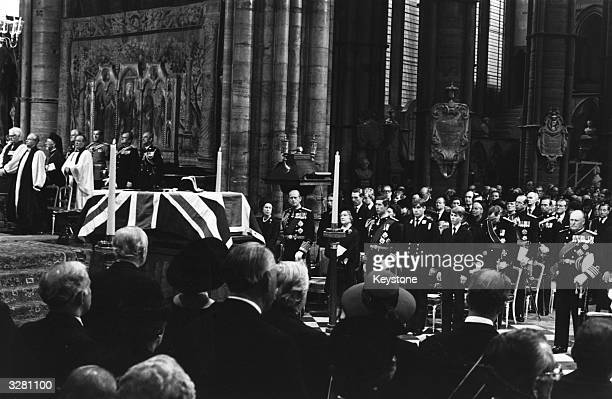 The flag draped coffin of Lord Mountbatten at his state funeral
